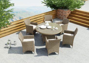 Круглый обеденный стол из ротанга Rondo 2