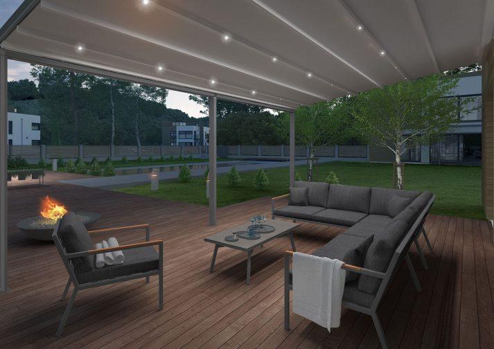 Навес для террасы OMBRA 4x6м с LED-подсветкой 3